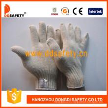 Guantes de trabajo de algodón natural calibre 7 con hilo de punto Dck704