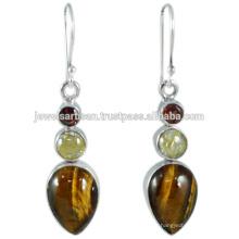 O mais novo design Tiger Eye e Multi Gemstone 925 Sterling Silver Earring Jewelry
