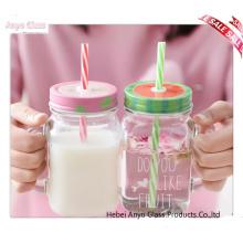 Оптовый прозрачный фляга Mason для стеклянной бутылки молока для напитков с крышкой