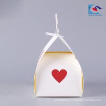 boîte à gâteaux en papier de luxe imprimée avec poignée