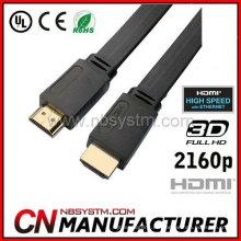 2014 Nuevo producto 1M 5M 10M Cable plano de HDMI para BLURAY 3D DVD PS 3 HDTV 360