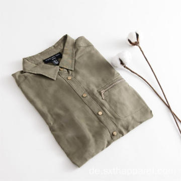 Army Green Sleeves Verstellbare Tencel Shirts