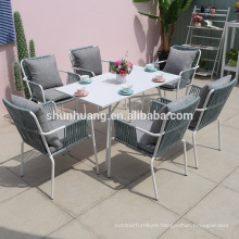 Modern outdoor furniture rope furniture dining sets rope chair and coffee table  for lounge