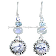 Dendritic Opal And Multi Gemstone 925 Sterling Silver Earring