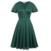 Hanna Nikole verde oscuro manga corta cuello en V más vestido de dama de honor Swing verano HN0017-3