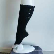 Elegantes calcetines hasta la rodilla negros de encaje Bowknot para niñas