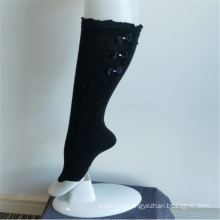Elegant Black Bowknot Lace Girls' Fashion Knee-highs Socks