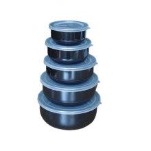5pcs enamel mixing bowl sets with plastic lid