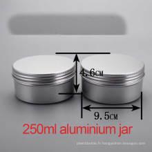 250g Crème pour les mains et le corps Capuchon à vis en aluminium Container / Jar / Cans