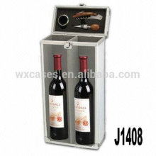 Nueva llegada! caja de vino de regalo de aluminio profesional para 2 botellas