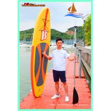 Prancha de remo inflável amarela quente, longboard macio