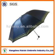 23 pouces trois pliante parapluie de tissu en polyester avec poignée en plastique UV-revêtement