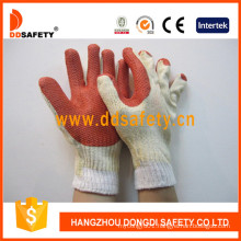Red Rubber Coated Cotton Gloves with Competitive Price Dcl301