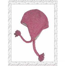 Мода розового цвета вязание крючком Beanie Hat с String Ball (1-3447)