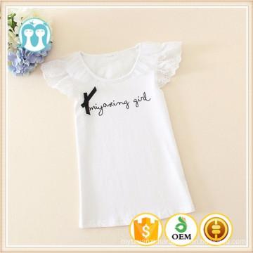Latest Shirt Designs For kids O-Neck Kids Plain White Cotton T-shirts for girls