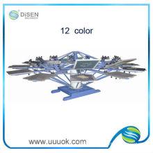 Máquina de impressão manual 12 cores tela giratória