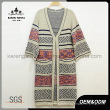 Suéter de punto largo de punto de mujer