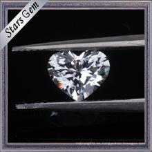 Piedras cúbicas de la zirconia del color blanco del corte brillante de la forma del corazón 6X6m m para la joyería de la manera