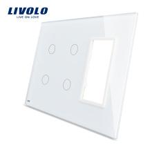 Livolo Белый 170мм * 125мм Стандарт США с тройным остеклением Стеклянная панель для настенного розетки с сенсорным переключателем VL-C5-C2 / C2 / SR-11