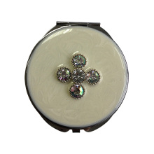 White Four-leaf Clover Pocket Mirrors