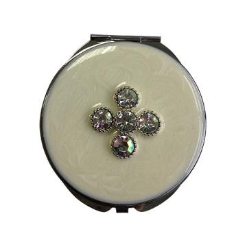 Espelhos de bolso branco trevo de quatro folhas