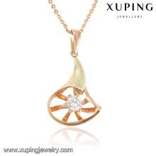 30482 Pendentif chaîne de bijoux en zircon cubique à breloque en plaqué or