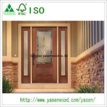 Fora da porta de madeira desigual da entrada do sólido de 100%
