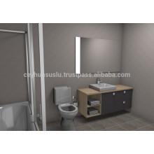 NOUVELLE ARRIVÉE Mobilier de salle de bain à la décoration abordable, grise, doux, tactile, moulé, mélangé, Mdf, porte et carcasse