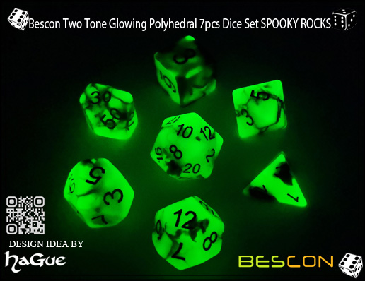 Bescon Two Tone Glowing Polyhedral 7pcs Dice Set SPOOKY ROCKS-3