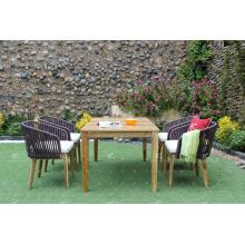 COLECCIÓN FLORES - El diseño más caliente de mimbre Poly Rattan PE comedor conjunto de mesa y 4 sillas Muebles de exterior