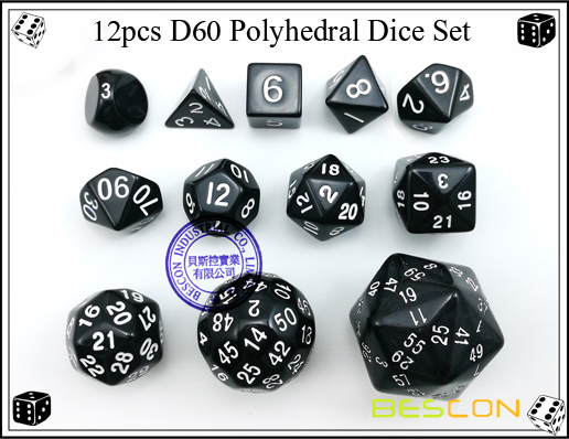12pcs D60 Polyhedral Dice Set