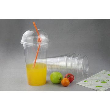 Tasse claire claire jetable adaptée aux besoins du client d'animal familier / pp de boire de jus avec le dôme / couvercles plats
