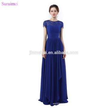 Cheap Chiffon Evening Dresses Royaol Blue With Short Cap Sleeves Floor Length Sheer Illusion Lace Long Prom Dresses On Sale
