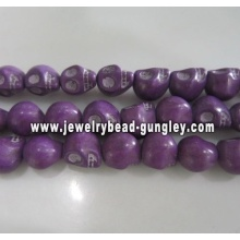 Howlite skull beads - purple