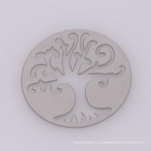 Последний дизайн круглых серебряных пластинок из нержавеющей стали, стеклянные полые дерево памяти жизни плитами