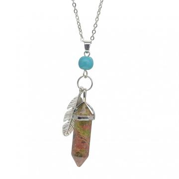 Unakite Feather Hexagonal Prism Choker Necklace