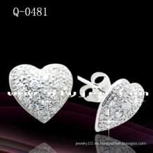 Pendientes de plata de ley 925 en forma de corazón (Q-0481)