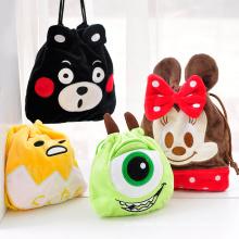 Custom cartoon plush drawstring bag