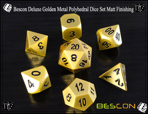 Bescon Deluxe Golden Metal Polyhedral Dice Set Matt Finishing-1