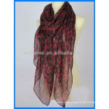 Lady polyester fancy hijab scarf leopard print