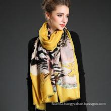 Women Long Wool Tiger Pattern Digital Printing Yellow Muffler Scarf