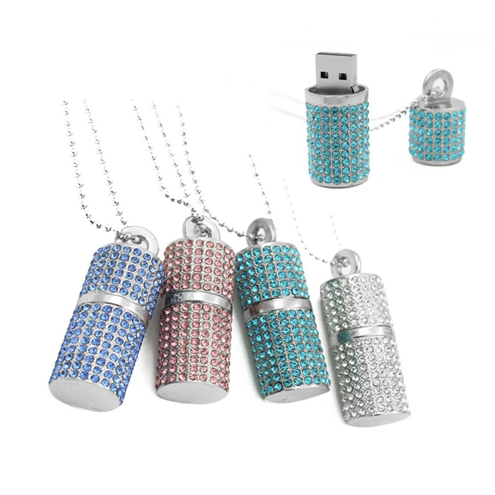 Lipstick style Crystal Necklace 16GB Usb Memory stick