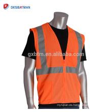 Chaleco reflectante respirable de la seguridad de la malla 100% Chaleco anaranjado de la seguridad de la clase 2 de la alta calidad con 2 bolsillos para los trabajadores