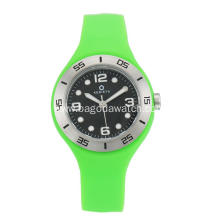 Stainless steel green silicone strap watches