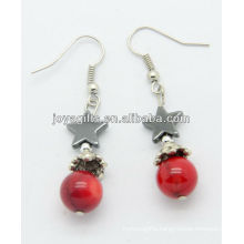 Wholesale red coral with hematite star earring