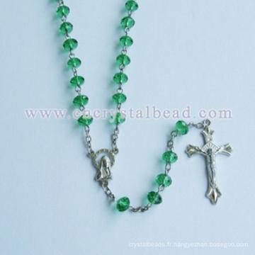 Alliage de haute qualité ambre Rosaire Cross matériel