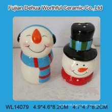 Lovely ceramic snowman salt and pepper shakers