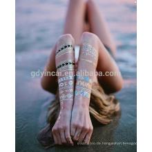 2017 Fashion Watertransfer Maßgeschneiderte Schmuck Gold Silberfolie Metallic Körper Aufkleber