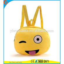 Caliente calidad lindo emoji cara mochila bolsa bolsa de teléfono de felpa para señora