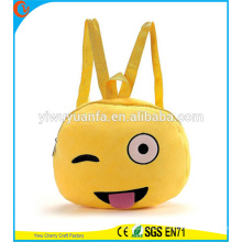 Hot Quality Funny Cute Emoji Face Backpack Bag Plush Phone Bag for Lady